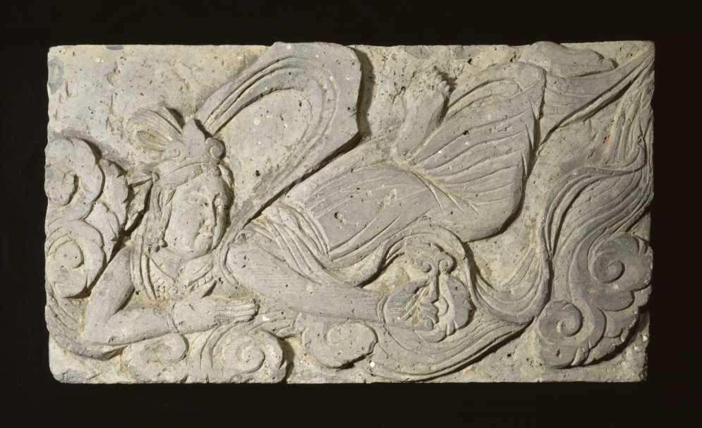 One of Fifteen Reliefs from a Buddhist Monument: Celestial Adorants