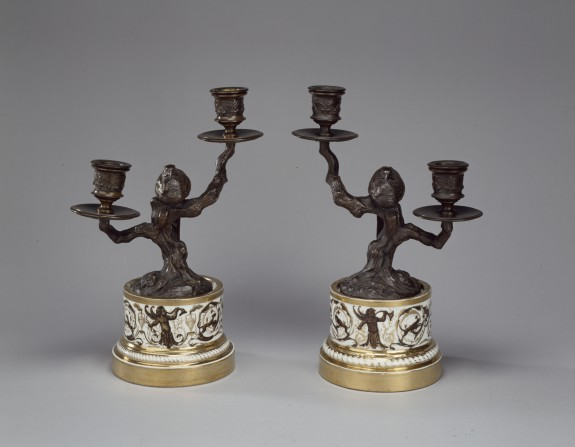Pair of Candlesticks with Sleeping Pheasants