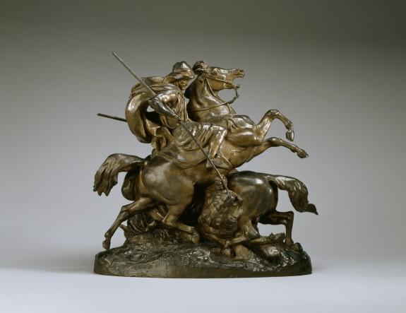 Two Arab Horsemen Killing a Lion