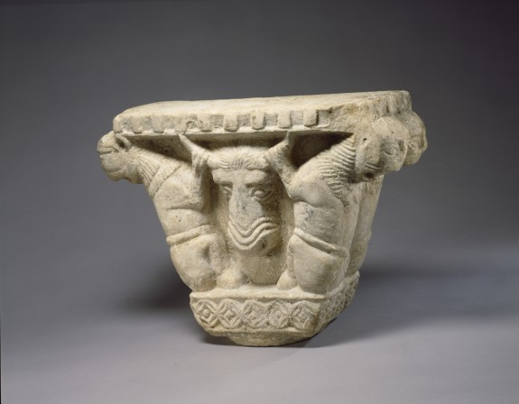 Capital with Steer's Head Held by Two Lions