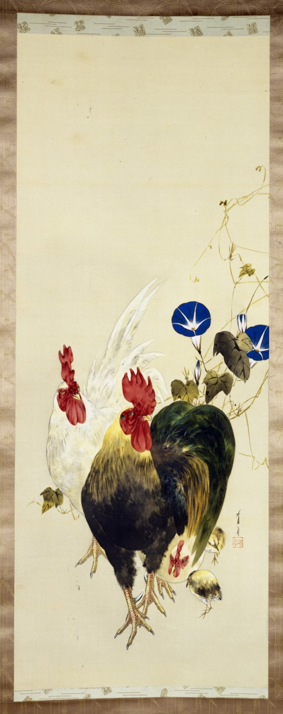 Roosters, Chicks, and Morning Glories
