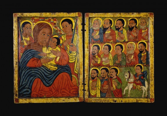 Diptych with Mary and Her Son Flanked by Archangels, Apostles and a Saint