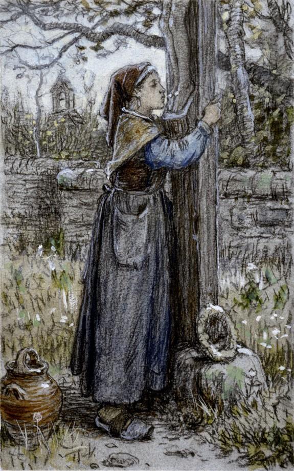 Peasant Woman Embracing Crucifix