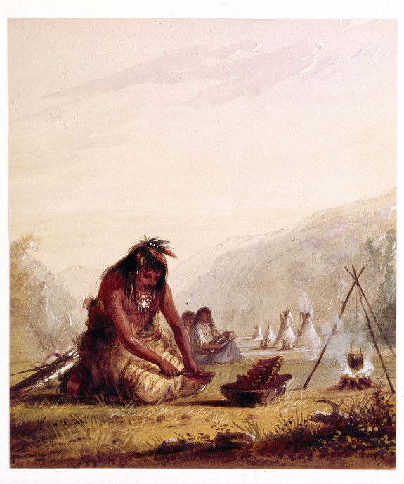 Shosohonee [sic] Indian Preparing His Meal