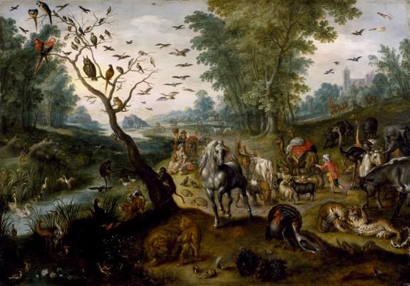 Noah's Family Assembling Animals before the Ark