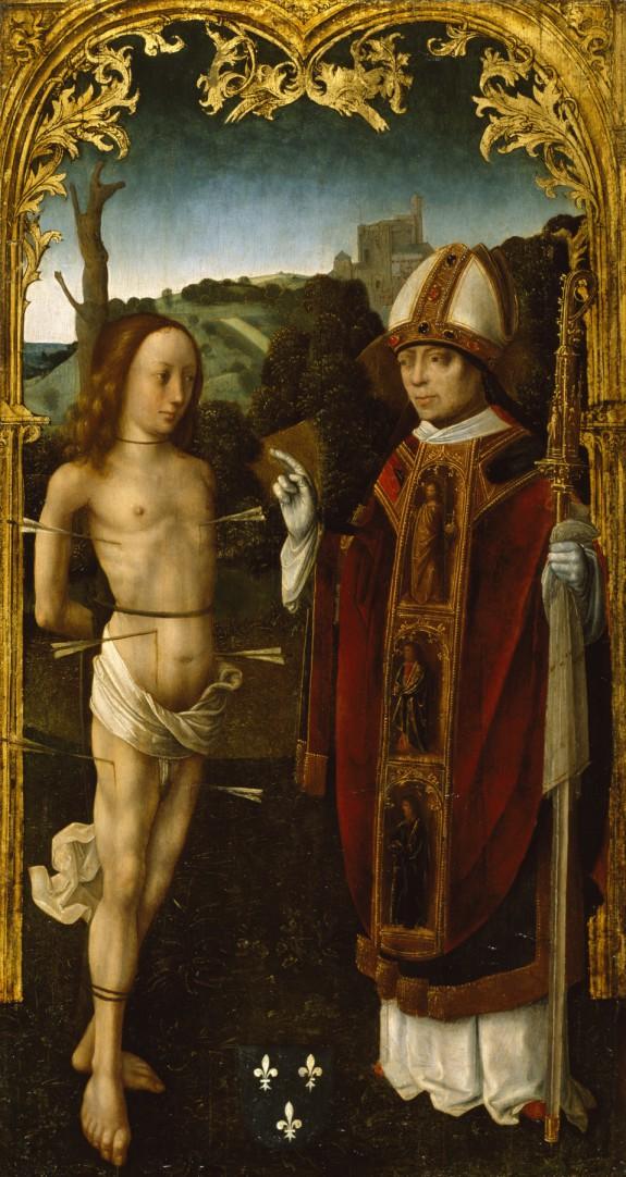 Saint Sebastian and a Bishop Saint