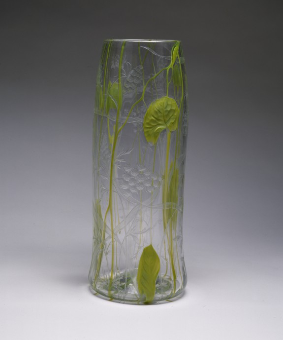 Tall Vase with Lily Pads and Wild Carrots