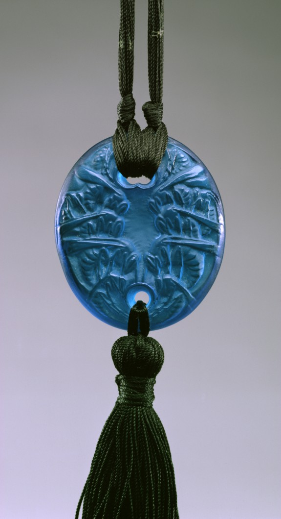 Blue Oval Pendant with Wasps