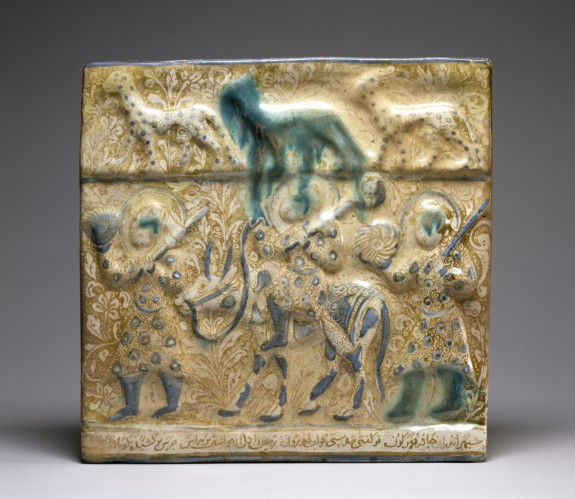 Tile with Figures and Animals