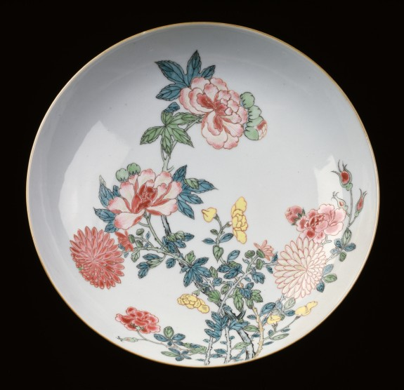 Dish with Chrysanthemums and Peonies