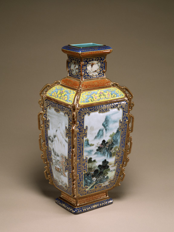 One of a Pair of Vases with Landscapes of the Four Seasons