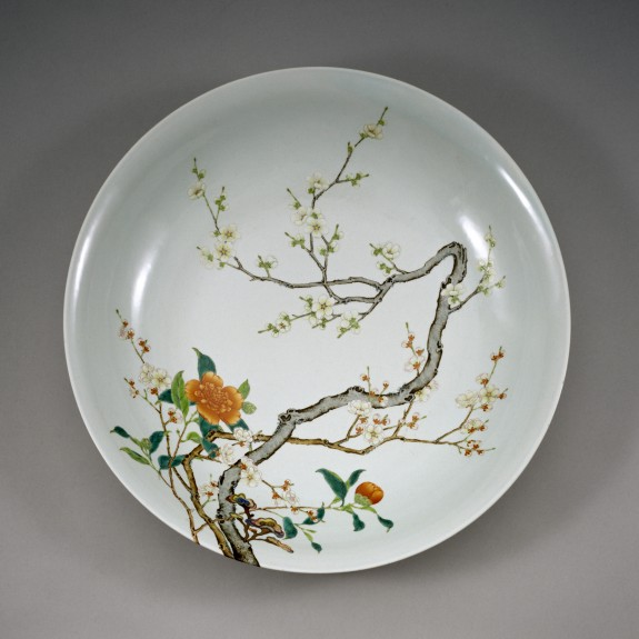 Dish with Flowering Prunus, Pomegranate, and Pear
