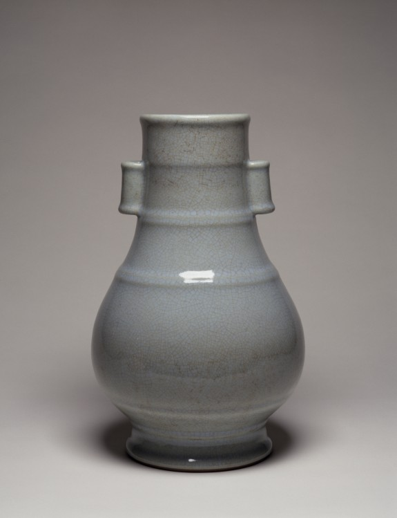 Large Vase with Pierced Hangles Imitation Guan Ware