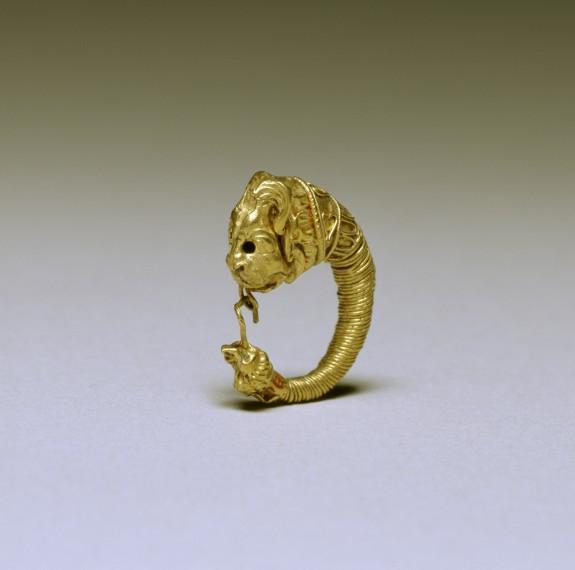 Greek Hoop Earring with Lion Head