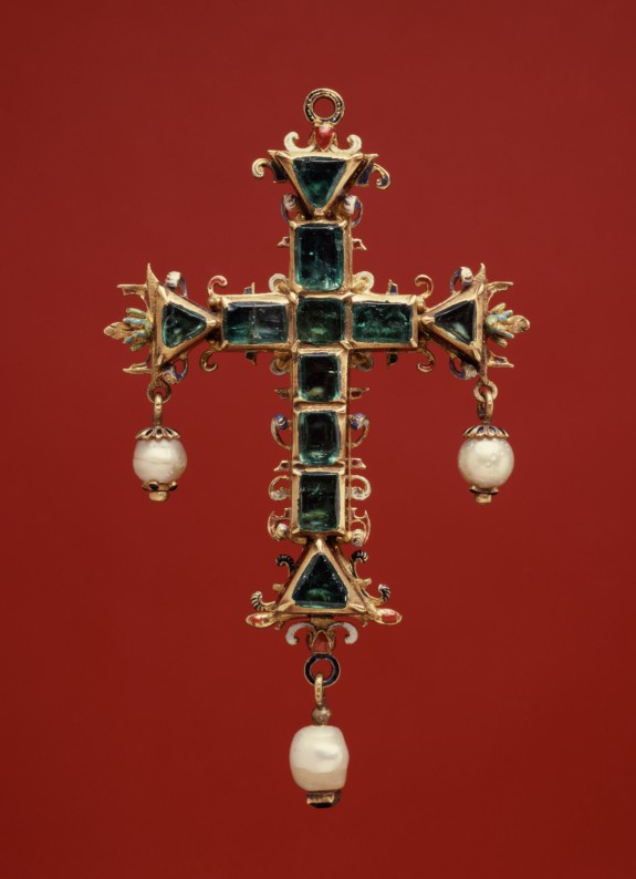 Pendant Cross with Emeralds