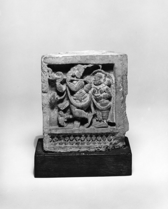 One of a Pair of Carved Bricks Representing Musicians