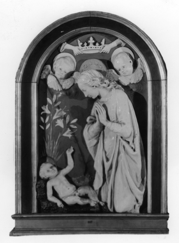 Relief with the Virgin Adoring the Child with Two Angels