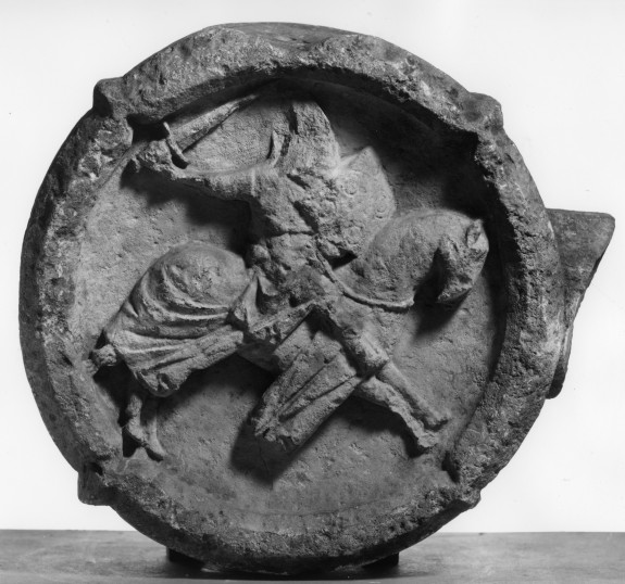Central Fragment of a Market Cross with the Crucifixion and a Charging Knight