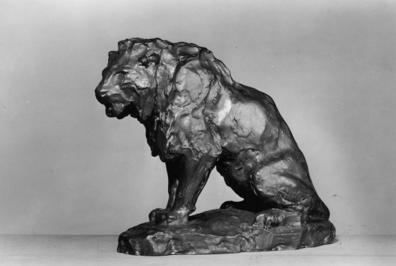 Unfinished Model of a Seated Lion