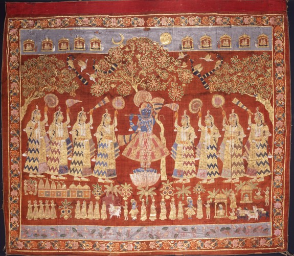 Temple Hanging (Pichvai) Depicting Krishna with Gopis