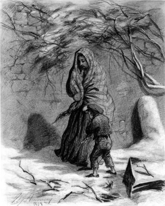 Woman and Boy in the Snow