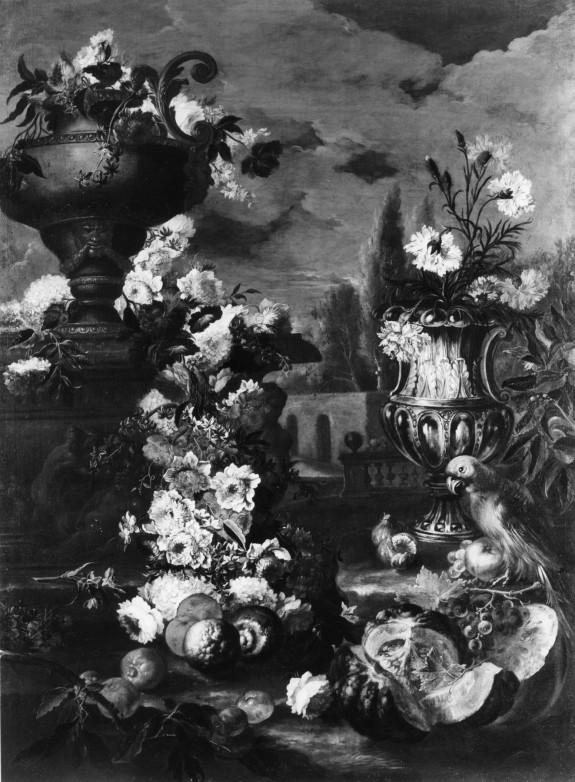 Still Life of Flowers and Fruit with Parrot