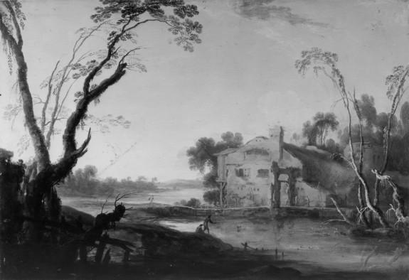 River Landscape with Fishermen