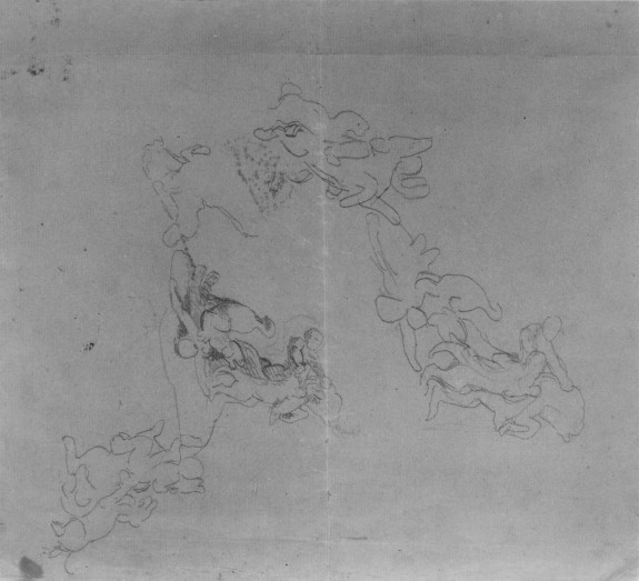 Four Sketches of a Lion Attacking a Horseman