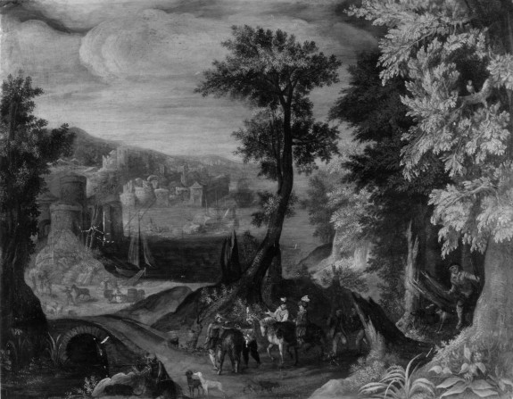 Landscape with Harbor View and Figures