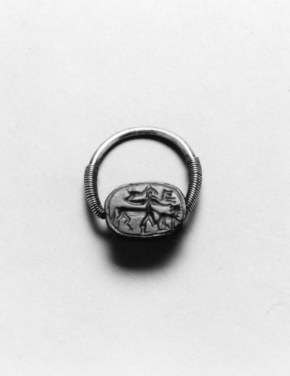 Scarab with a Centaur and Two Lions Set in a Swivel Ring