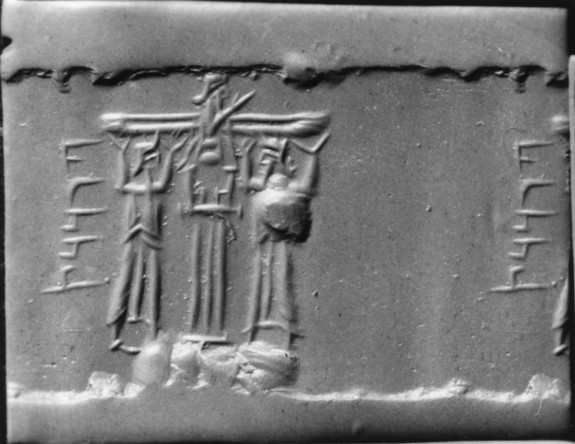 Cylinder Seal with a Cultic Scene and an Inscription