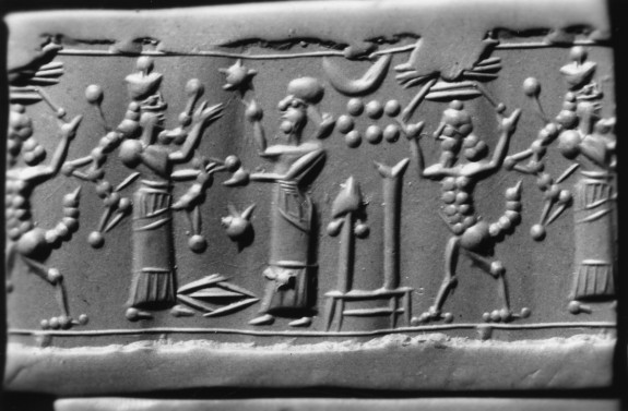 Cylinder Seal with Standing Figures with a Human Headed Animal