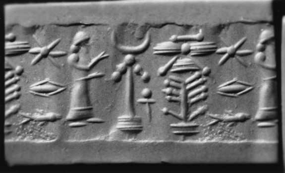 Cylinder Seal with a King or God at an Altar (?)