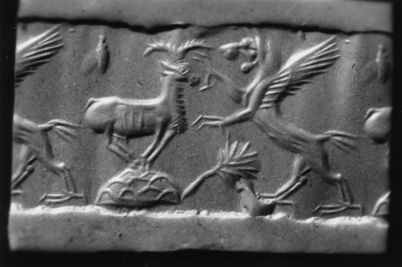 Cylinder Seal with Standing Winged Lion with Prey