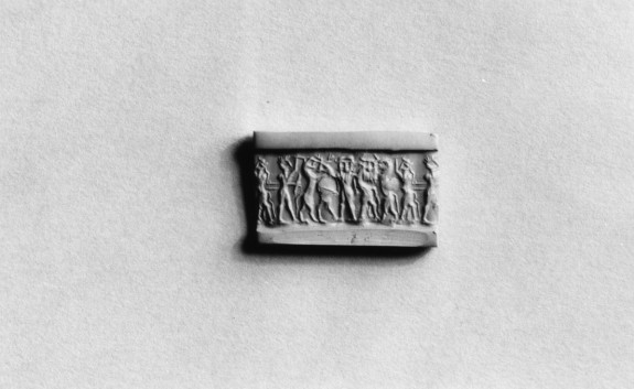 Cylinder Seal with Figures and Creatures in Combat (?)