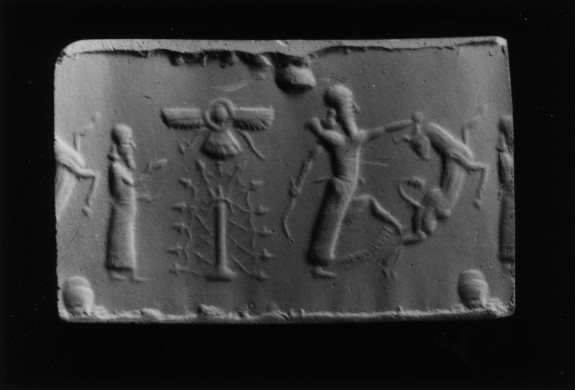 Cylinder Seal with a Contest Scene and a Cultic Scene