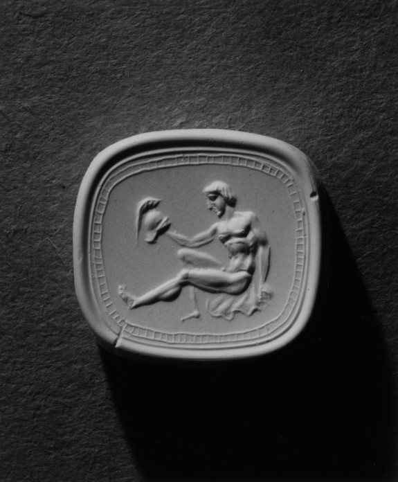 Intaglio with a Warrior Holding a Helmet Set in a Ring
