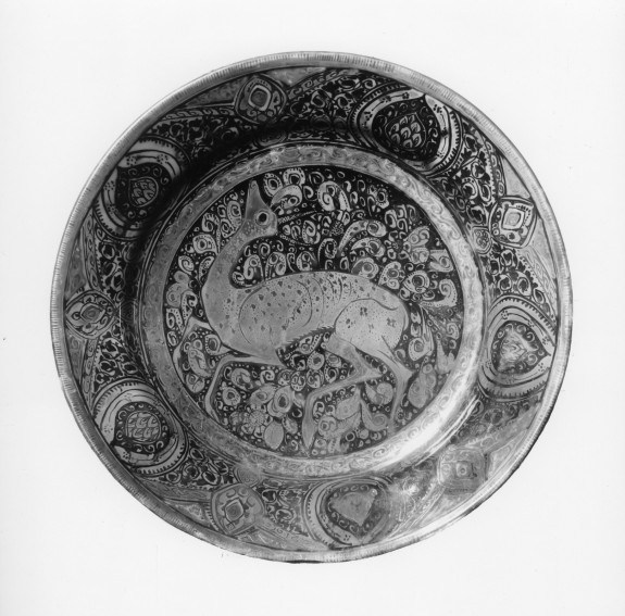 Dish with Doe and Floral Pattern