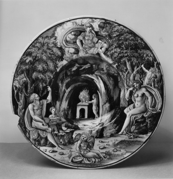 Plate with Vulcan, Venus, and Mars