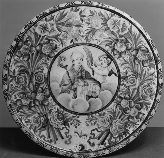 Footed Plate with Saint Emygdius (?), Bishop and Martyr