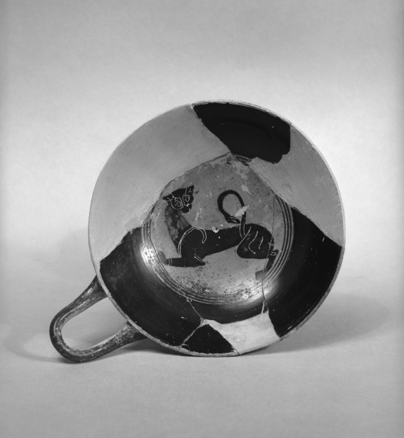 Kylix (Lip Cup) with Panther and Inscription