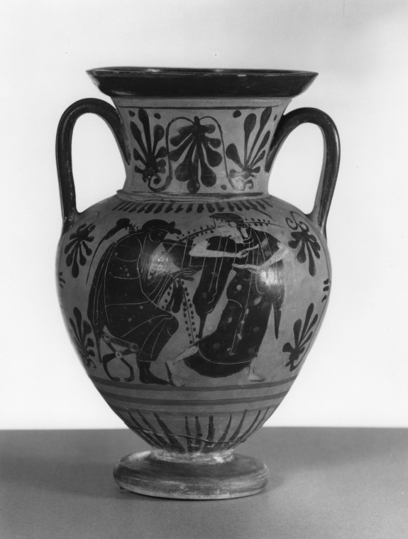 Amphora with Dionysus and Bacchante