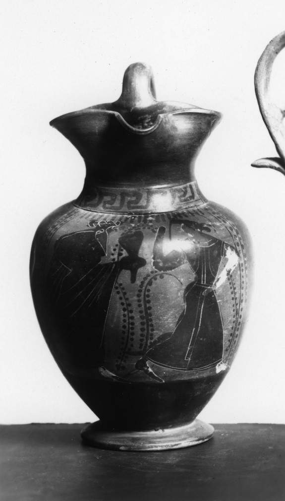 Oinochoe with Dionysus and Bacchante