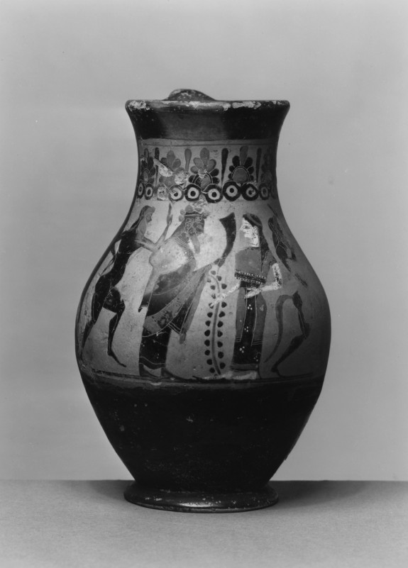 Oinochoe with Dionysus, Bacchante and Satyrs