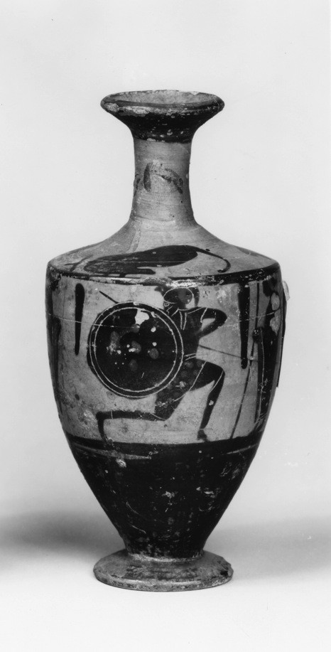 Squat Lekythos with Warrior and Standing Men