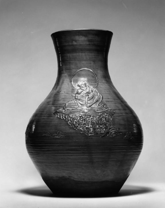 Temple Vase with Three Buddhist Saints