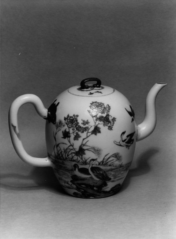Teapot with Scene of Geese in Landscape