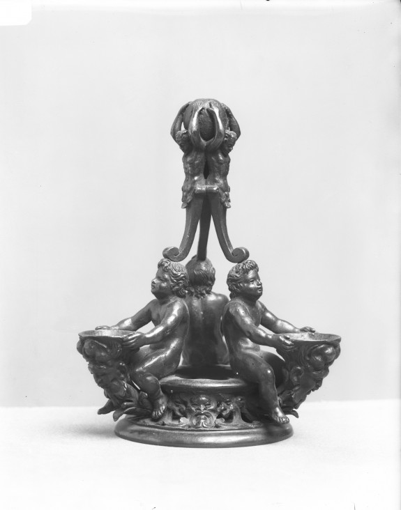 Triple Table Utensil for Salt and Spices with Three Putti