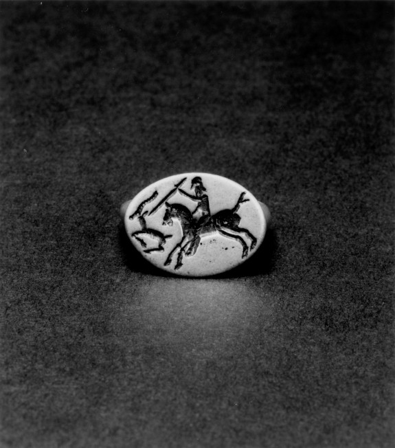 Ring Engraved with a Hunter on Horseback