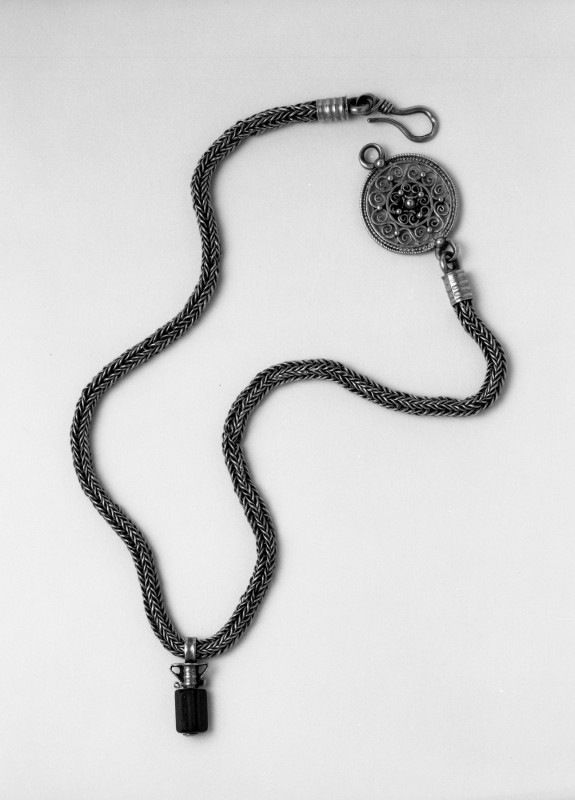 Necklace with Open-Work Disk and Pendant
